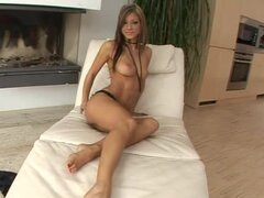 Melisa Mendiny shows off her feet and fingers her tight holes