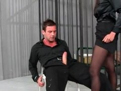 Ripped pantyhose and blouse on his cock rider