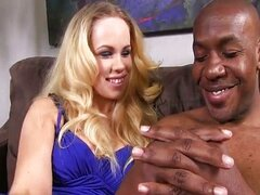 Blonde worships 14 inch black monster cock