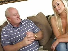 Lovely busty blonde wife sucking cock for getting out of troubles