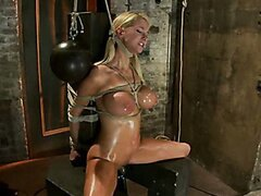 Impaled with a huge dildo w/vibrator stuck right on her clit. Breath control makes this girl cum!
