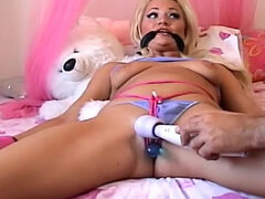 Bound blonde girl vibrated for fun