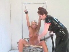 Naughty Submissive Blonde Gets Whipped and Tied Up By Busty Asian Dominatrix