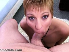 Gemma Moore pleases that throbbing dick until a river of cum flows down her throat