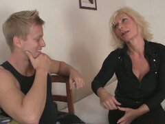 Horny blonde granny rides a young stiff rod
