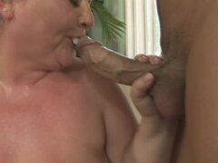 Very fat woman rides on the hard dick