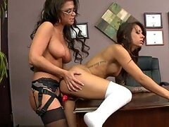 Amazing Lesbian Action with Two Perfect Brunettes in Stockings