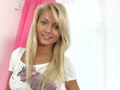Sultry blonde teen is drilling