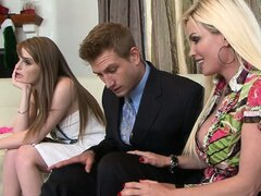 Two voluptuous models are pulling that cock out of guy's pants
