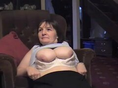 British amateur milf takes a cumshot over her panties