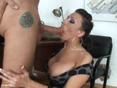 Big-titted whore Ricki White excitedly swallows a swollen hard cock