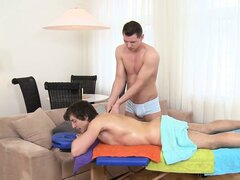 Young hunk massages a horny dude with hairy legs, he goes down on him like a male whore