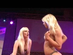 lesbian pussy licking on public stage