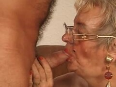 Grandma in glasss fucked by a big cock