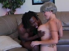 Tatooed Gray Hair Mature seduced by Big bBlack Cock