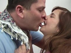 Chubby guy banging with teen cutie