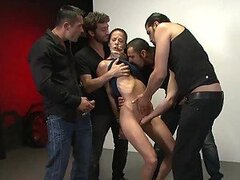 Brunette Gets Tied Up in Bukkake Gangbang