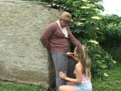 OLD MAN FUCK GIRL IN THE GARDEN