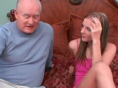 Young schoolgirl gived pervert old man blowjob in a hotel room