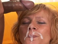 Mature blond milf Lady gets her mouth fucked