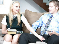 Natalie Norton came by to student with her friend. But Natalie Norton gets left high and dry by her and Natalie decides to seduce her friends dad. With a little flirting and some dick rubbing, it's not long before this guy is getting his cock sucked and r