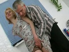 Old guy loves pussy slamming with cute girls