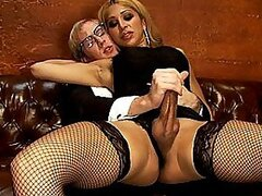 Blonde shemale enjoys fucking that perve fella and sucking his cock