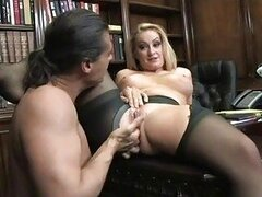 Heavy chested blonde secretary in ripped pantyhose gets nailed in office