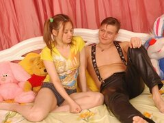 Olga doesn't care that her boyfriend has an ugly pair of leather pants on, she'll still shag him
