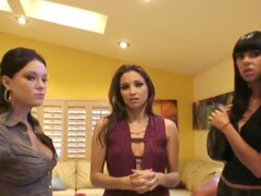 Filthy hungry for sex brunette sluts Celeste Star, Dana Vespoli, Demi Emmerson and Sochee Malo with hot bodies and heavy make up get together in hope to have lusty wet session.