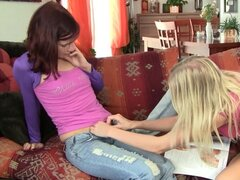 Lesbians stimulating their wet pussies