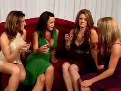 Five gorgeous American milfs are having a lesbian orgy