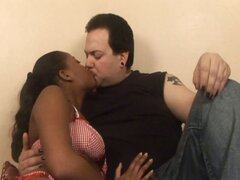 Naughty black bitch a horny white dude have a hot interracial fuck