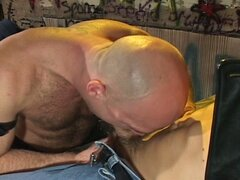 Bald dilf smokes his friend's male cigar
