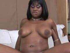 Ebony blows dark meat and gets her trimmed pussy nailed