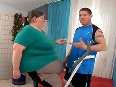 Very fat woman getting her snatch fucked rough on the sofa