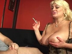 Huge racked blonde mature lingerie slut sucks cock...