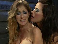 Blonde and Brunette Dominatrix Duo Torture Male Slave