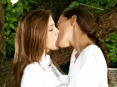 Angelic lesbians kissing and licking asshole and having lesbian sex in the great outdoor