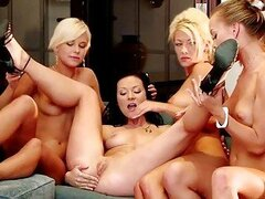 Naughty brunette and blonde lesbians licking and toying pussy in a three way lesbian orgy