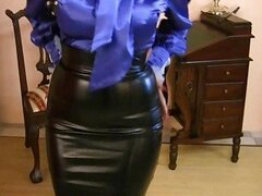MILF Wearing Tight Satin Skirt