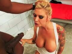 Naughty fuck loving blonde brooke in prison with monster black cock