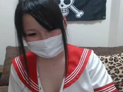 Japanese young cute Yuria masturbation shows pussy