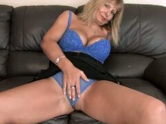Horny hairy mom at home rubbing pussy