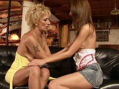 Granny Yda Initiating Teen Betty in the Strapon Sex Arts