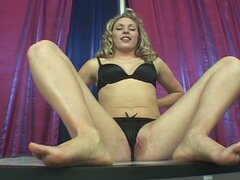 Talented blonde uses her feet on his cock before sucking and fucking