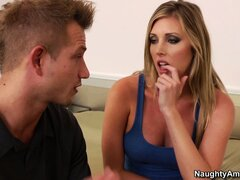 Sexy blonde babe Samantha Saint has nice melons he likes to lick