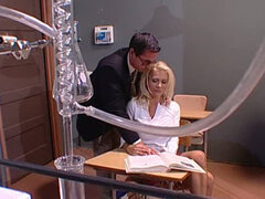 Blonde sweet babe is fucked by her boss in office. Deep penetration