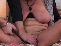 Hot plump sweet milf tries to pump her pussy with some cum juice