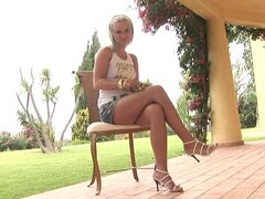 Bridget Blonde takes off her short skirt and shows her puss